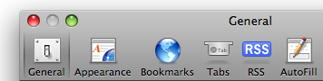 A toolbar with selectable icons in Safari's preferences window