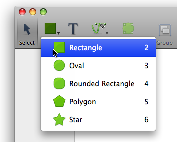 A dropdown menu on a selectable toolbar icon in Leopard