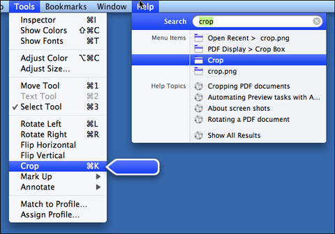 Search Menu in OS X