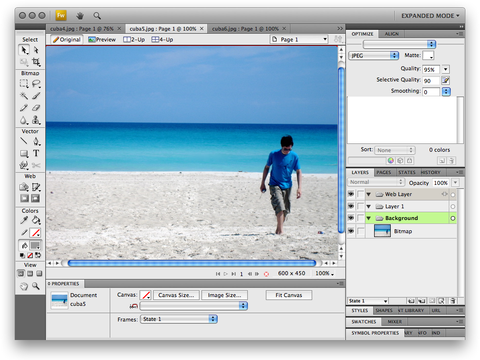 Screenshot of Adobe Fireworks CS4 Prerelease