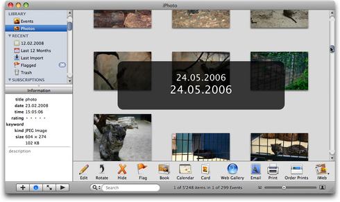 iPhoto's date HUD shown while scrolling