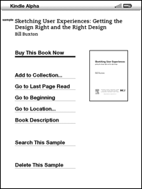Sample menu, Buy This Book Now is default choice