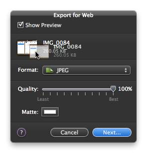 Pixelmator's Export Window