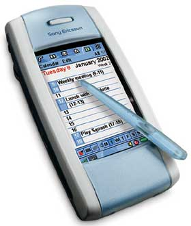 Picture of SonyEricsson P800, a mobile phone with a capacitive touchscreen and no buttons