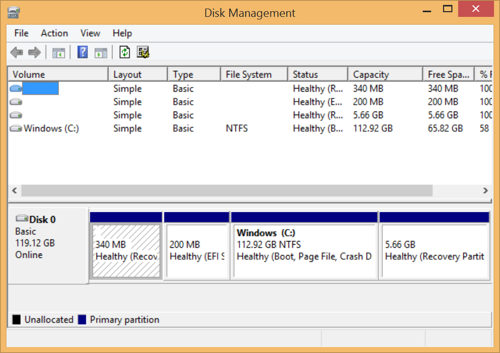Disk Management running under Windows 8