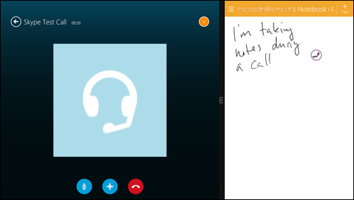 Screenshot of Surface's split-screen mode, showing a Skype call on the left, and a notes-taking app on the right