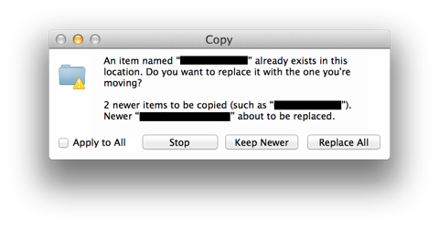 Copy and replace existing file dialog box in Mac OS X
