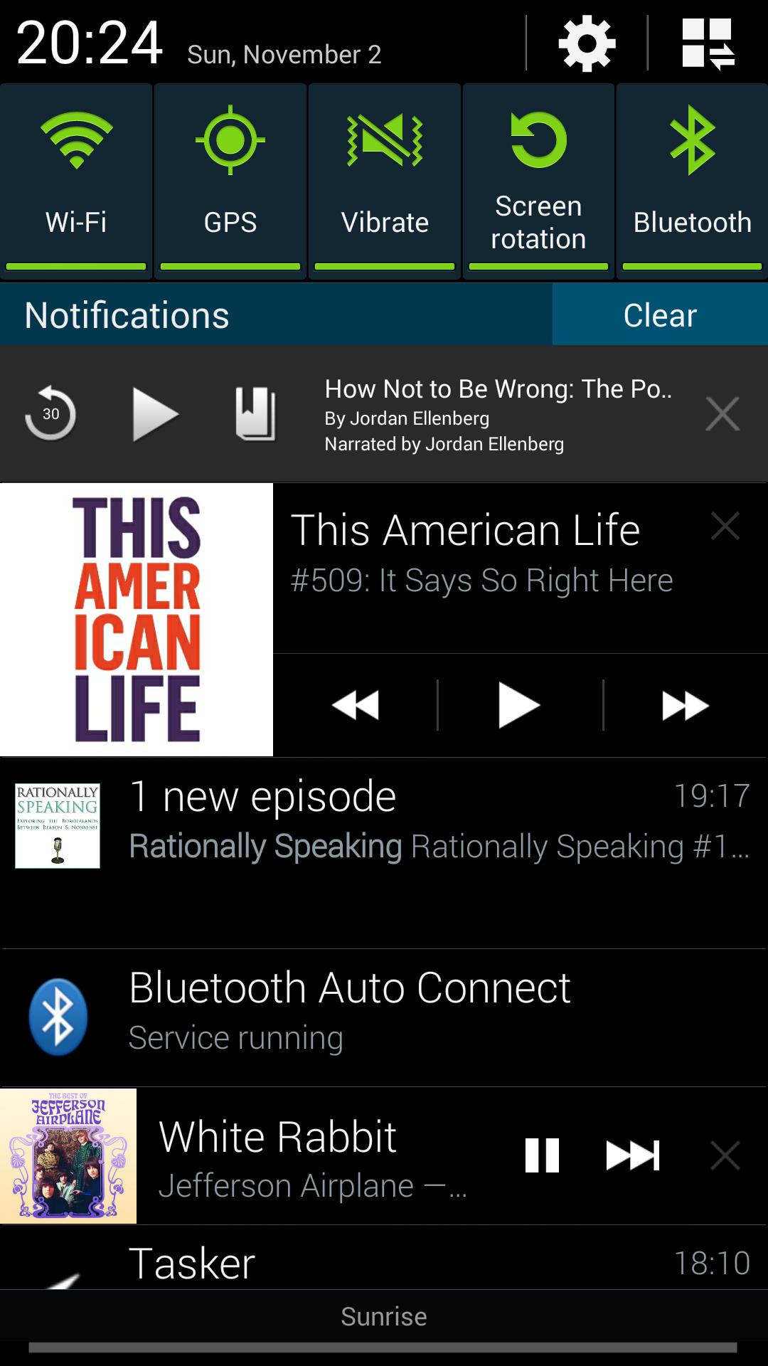 Notification overload, with lots of audio apps showing their controls in Android's notifications