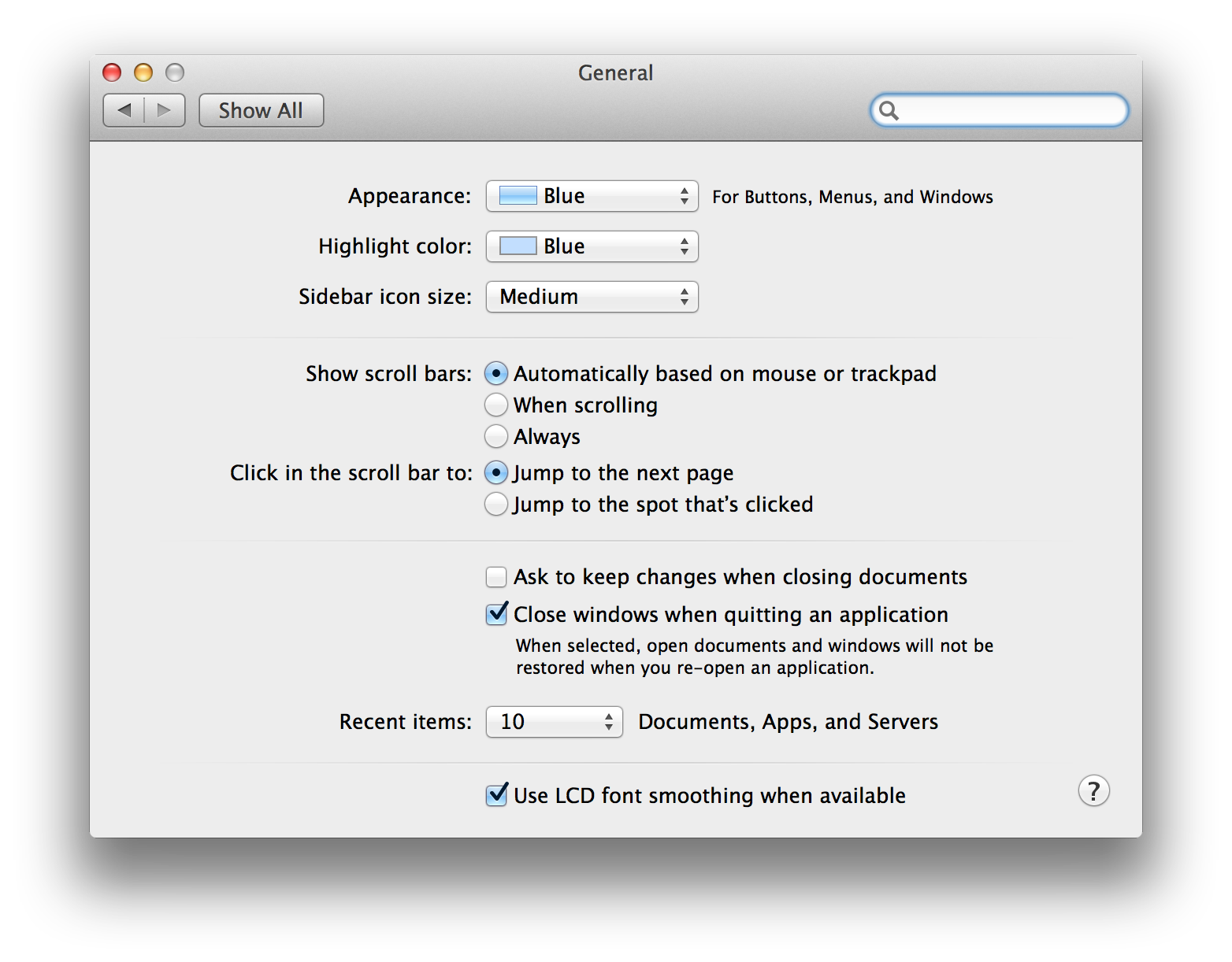Screenshot showing Mavericks' General System Settings