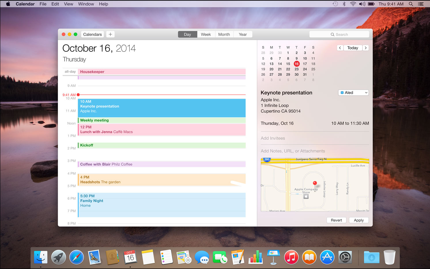 Screenshot of Yosemite's Calendar app, with a red background showing through the sidebar
